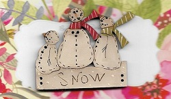 Snowman Trio on a board