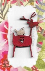 Deer Friend Red & white Birdie button