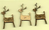 3 Deers greys & white Buttons