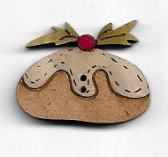 Plum Pudding button 3 cm