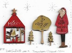 #70 Santa shop & trees Button card