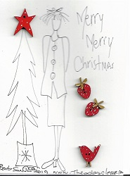 Button stitchery card Merry Merry