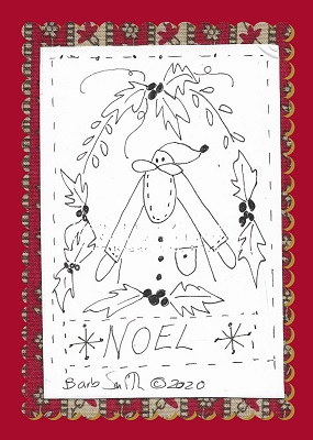 Merry Holly Christmas Stitchery Illustration