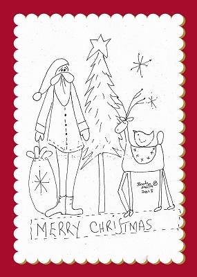 Santa Tree & Deer Stitchery Illustration