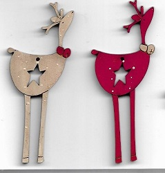 2 star deers decorations 7cm red & off white