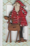 Santa with the deer button 8cm
