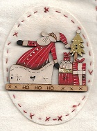 santa with ho ho sled parcels & tree on back