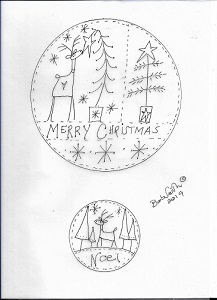 Merry Christmas Deers in circles stitchings