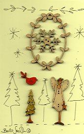 Angel Wreath Button stitchery