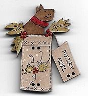 Scruffy Christmas in a white Box dog 4cm