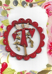 Everyday Red Angelin red scalloped frame decoration