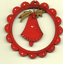 Red Bell deco scalloped 6cm