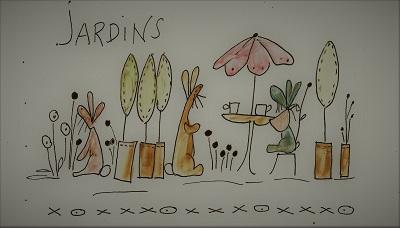 Bunny's Jardin Illustration to stitch