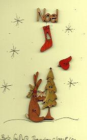 Noel Bunny's Christmas Button stitchery