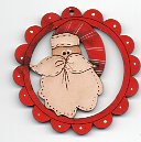 Cheery Santa scalloped deco 6cm