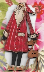 Santa red with deer beside him button 8cm