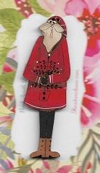 Santa with cutout tree & arms across body 7cm