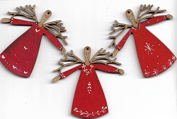 Twig Angels red 6cm decorations