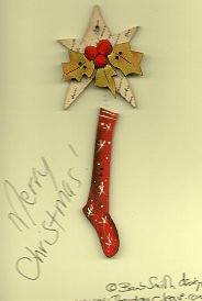 Merry Christmas Stocking holly start button stitchery