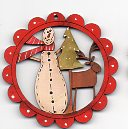 Snowman/deer/tree scallop deco 6cm