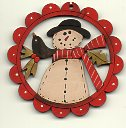 snowman with blackbird scallop deco 6cm