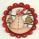 snowman in trees deco scallop 6cm