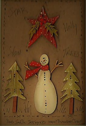 Stars, snowman & trees Button stitchery