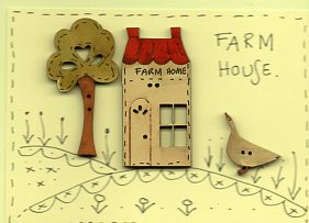 Farm House Button stitchery card