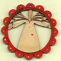 Twig Angel Deco scallop Red frame white dress
