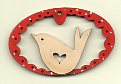 Oval red border bird