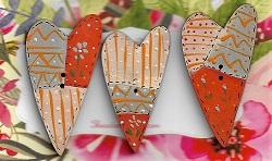 Hearts x 3 in orange etc