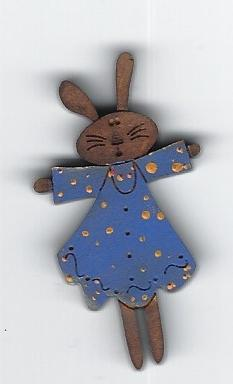 Bunny in blue dress & yellow spots pin