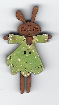 Bunny Lime green Button 4.5cm