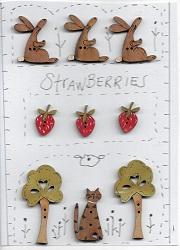 Strawberries Bunny button stitchery card