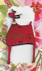 Leafy Deer red 7cm