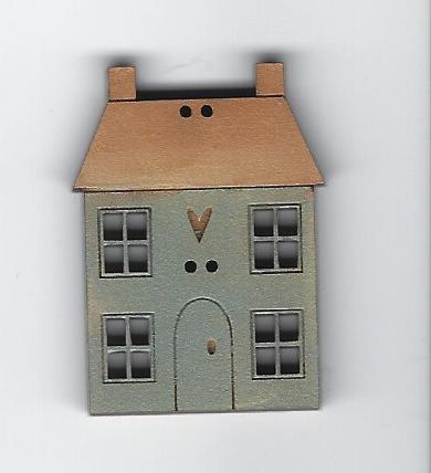Squat Blue Country house button 4cm