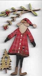 Santa Decoration Card #4 with tree & mistletoe buttons