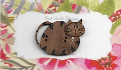 Willow Tabby Tan cat button