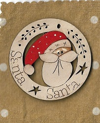 Santa Face in Circle deco 6cm