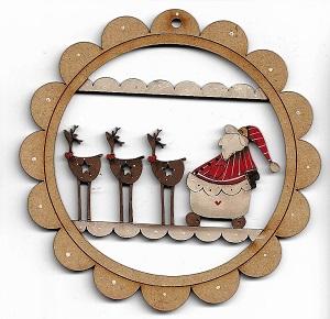 Santa & The Team decoration  12 cm