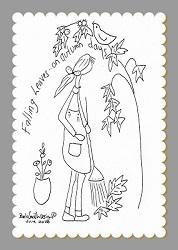 Autumn Raking Illustrated Stitchery