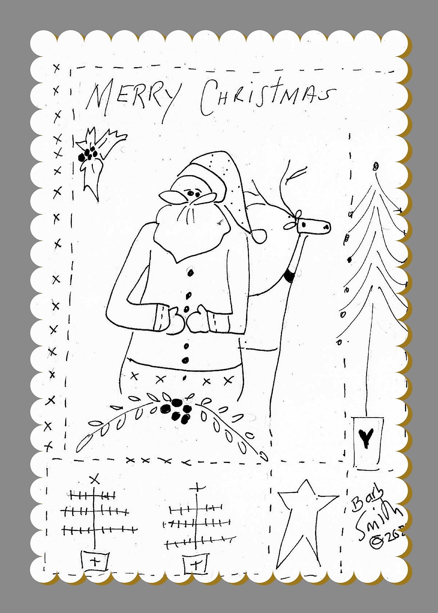 Deer Merry Santa Illustrated Stitchery