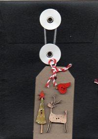 Black envelope deer, tree & star motif