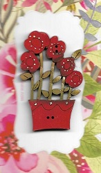 Flowers tallred in red pot
