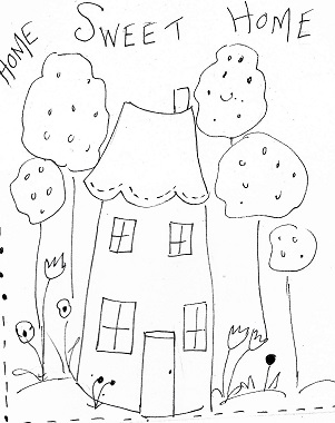 Home Sweet Home Illustration for stitching