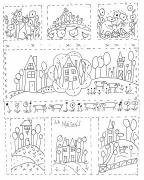 La Maisons Illustration for stitching