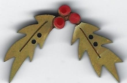 Holly 2 Leaf Button