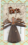 Twig Angel Grey Paris word & tiny fabric for decorating