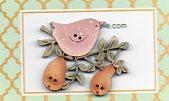 Pink bird & 2 pears button