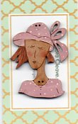 French Lady in pink hat Button